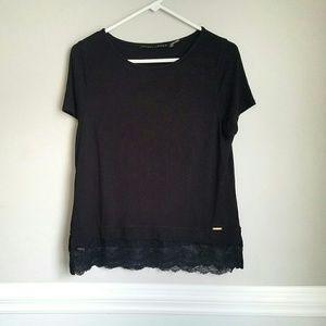 Ivanka Trump Black Lace Trim Short sleeve Top